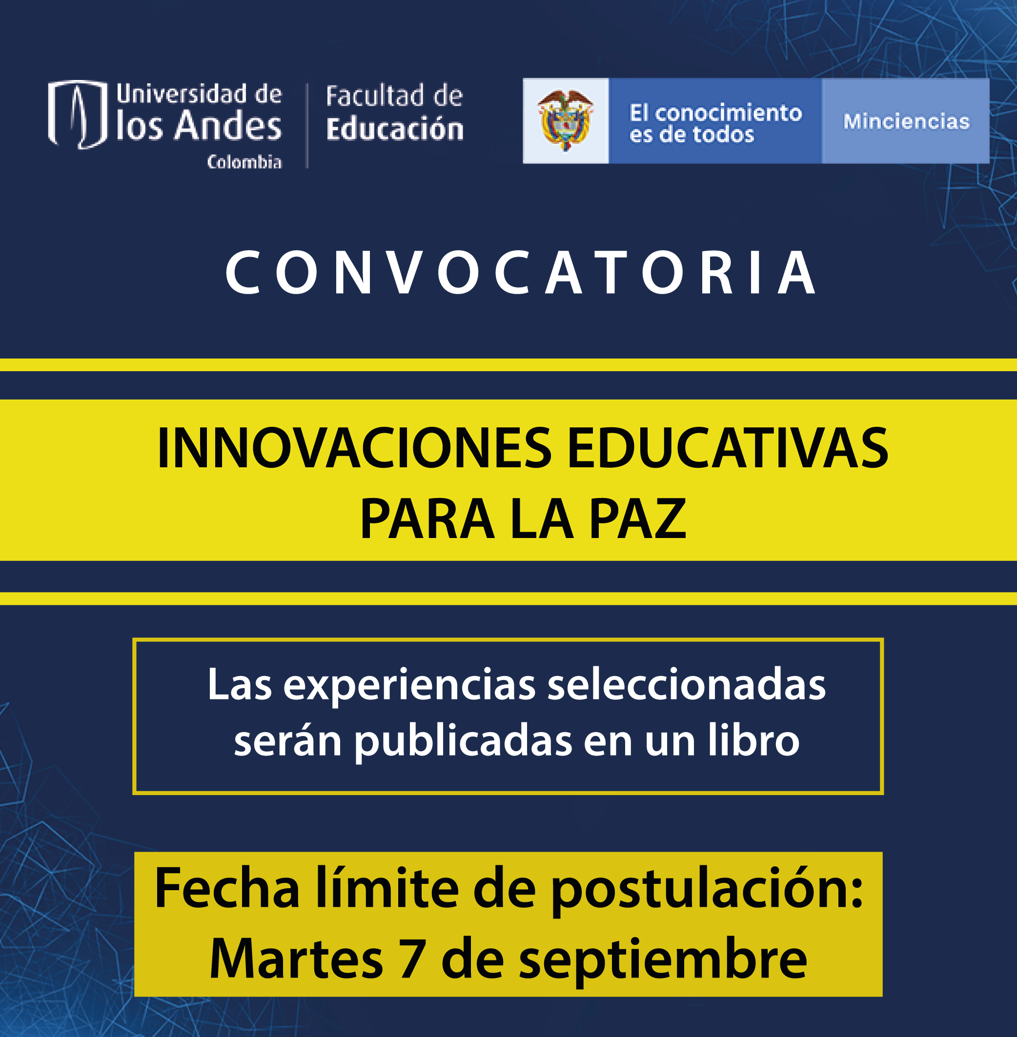 Convocatoria innovación educativa Paz